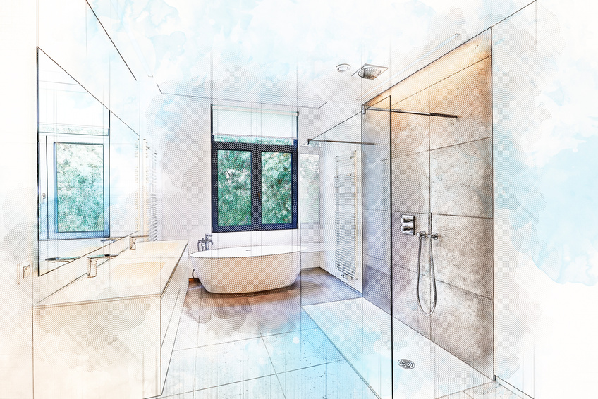 Illustration dreaming sketch of a Bathtub in corian, Faucet and shower in tiled bathroom with windows towards garden